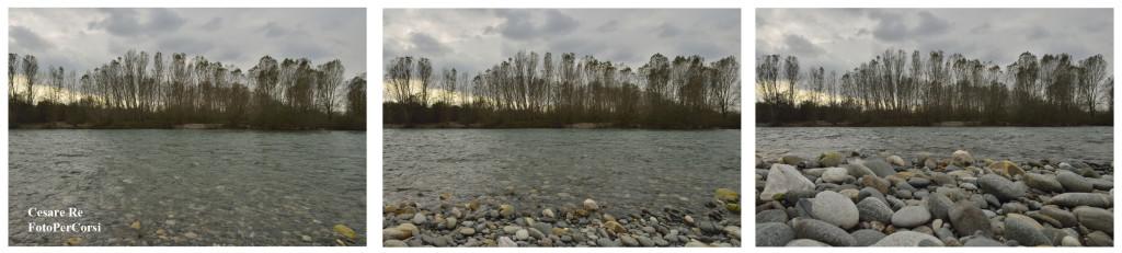 La stessa foto del Ticino, con tre punti di vista diversi: in piedi, in ginocchio, per terra. Nikon D800; Nikkor 24-70 2,8 AFS. Regolato a 24mm